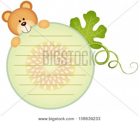 Label with teddy bear eating cantaloupe melon slice