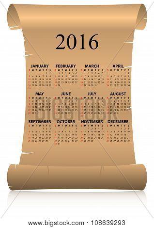 2016 Calendar Parchment