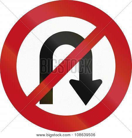 New Zealand Road Sign Rg-15 - No U-turns