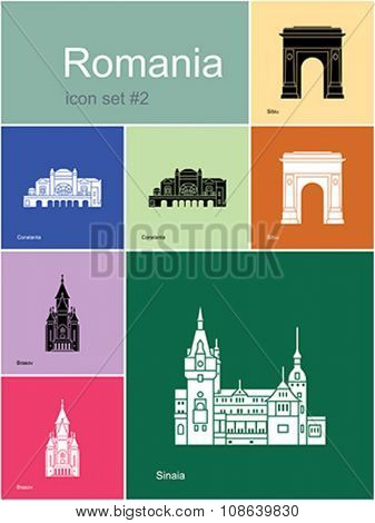 Landmarks of Romania. Set of color icons in Metro style. Editable vector illustration.