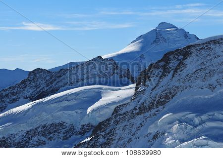 Beautiful Shaped Mountains And Glacier, Mt Aletschhorn