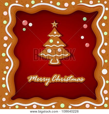 Gingerbread Background With Christmas Tree