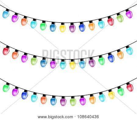 Christmas Light Bulbs Isolated white background. Illustration