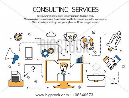 Consulting services outline concept,  technical support, online call center.