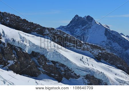 View From The Jungfraujoch, Glacier And Mt Fiescher Gabelhorn