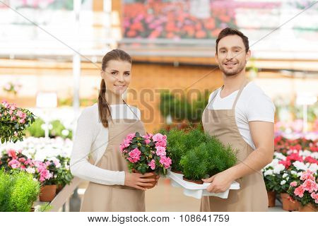 Positive florists working together