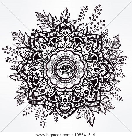 Hand drawn ornate flower with eye inside.