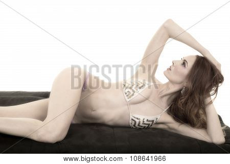 Red Head Woman In Bikini Lay Elbow Up