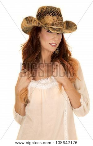 Red Head Woman In White Short Dress Cowgirl