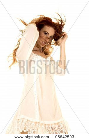 Red Head Woman In White Short Dress Hair In Face