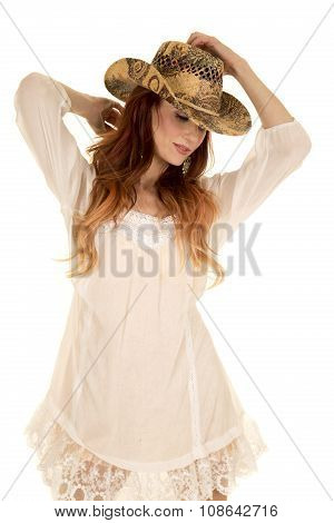 Red Head Woman In White Short Dress Hat Look Down