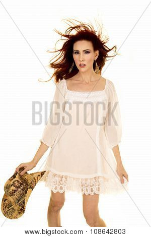 Red Head Woman In White Short Dress Hair Blow Hat In Hand