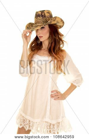Red Head Woman In White Short Dress Touch Hat