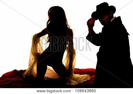 Silhouette Woman In Sheer Nightgown On Knees Front And Cowboy