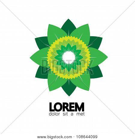 Stylized Vector Green Leaves Icon Arranged As Flower Pattern - Eco Concept Vector