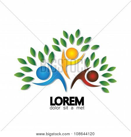 Tree Person Logo Vector Icon Representing Friendship