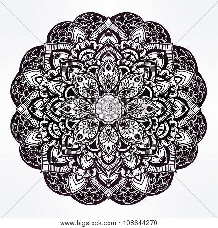Paisley floral mandala illustration.