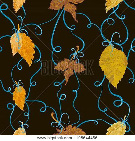 Autumn foliage tied with bows seamless backround
