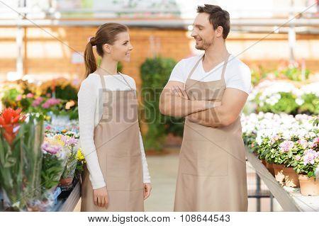 Nice flowers having conversation