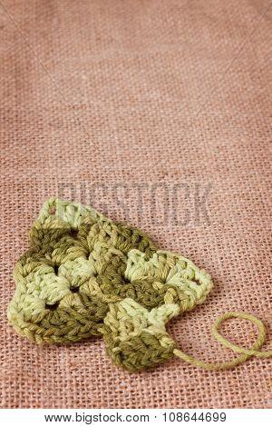 New Year Decoration With Handmade Crochet Christmas Tree