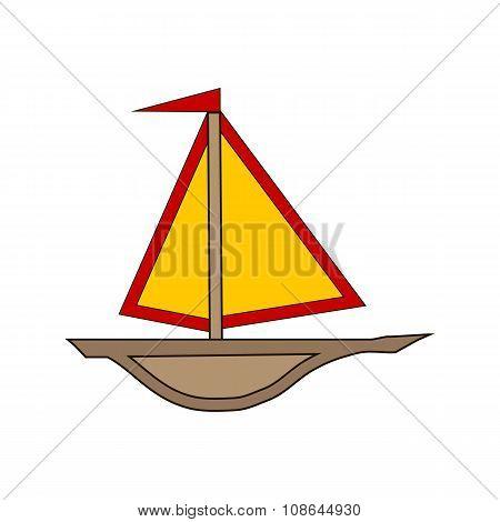 Ship Icon On White.