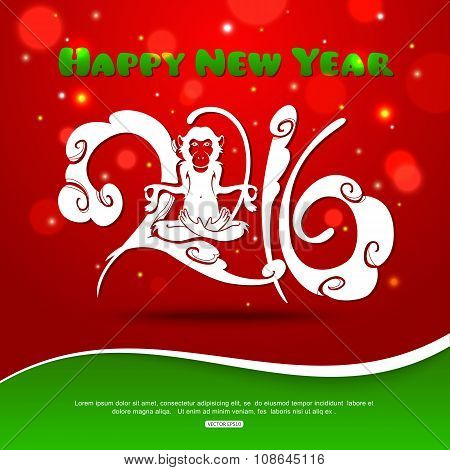 Monkey on red background New Year 2016 creative text design with monkey and bokeh lights. Symbol of