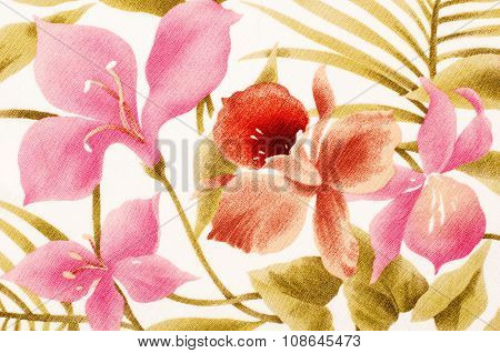 Colorful Tropical Floral Pattern On Fabric.