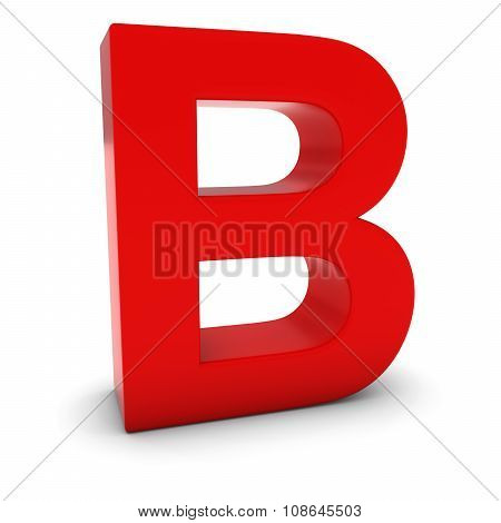 Red 3D Uppercase Letter B Isolated On White With Shadows