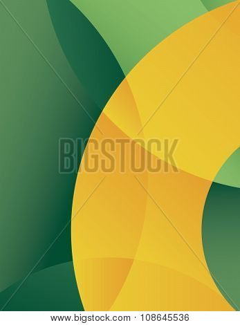 Green yellow circles and curved arcs