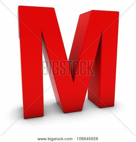 Red 3D Uppercase Letter M Isolated On White With Shadows