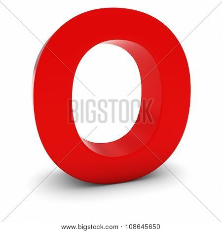 Red 3D Uppercase Letter O Isolated On White With Shadows
