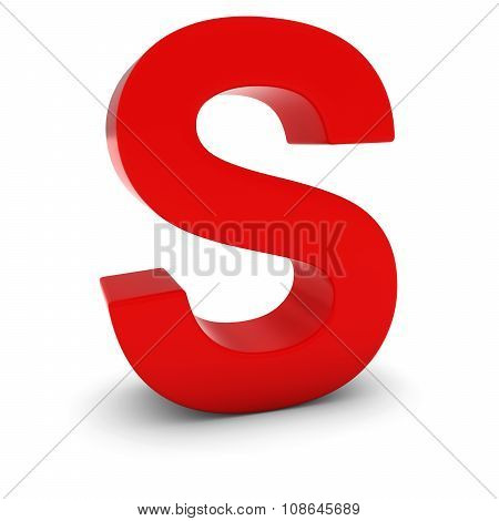 Red 3D Uppercase Letter S Isolated On White With Shadows