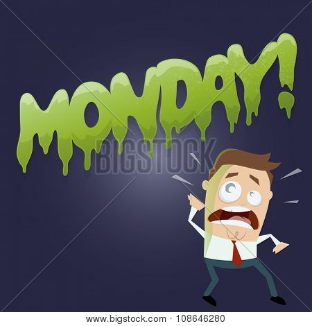 cartoon man doesn't like monday