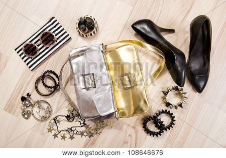 Woman Accessories Arranged On The Floor.