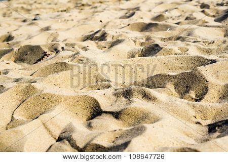 Hills Of Sand On Beach As Desert