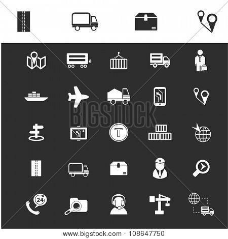 logistics, delivery, shipping, icons, signs vector set for infographics, mobile, website, application