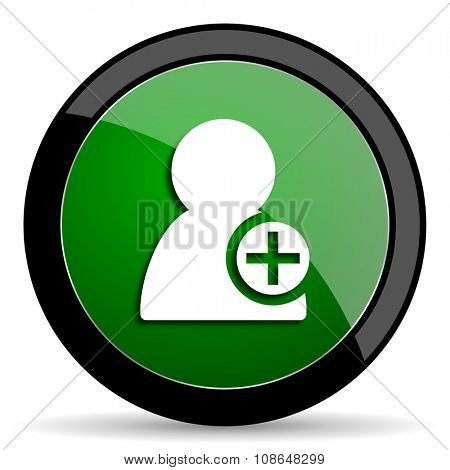 add contact green web glossy circle icon on white background