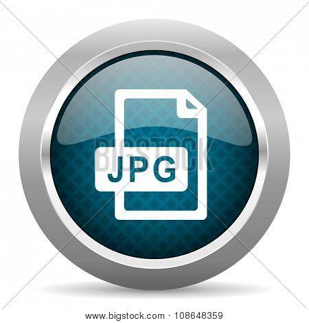jpg file blue silver chrome border icon on white background
