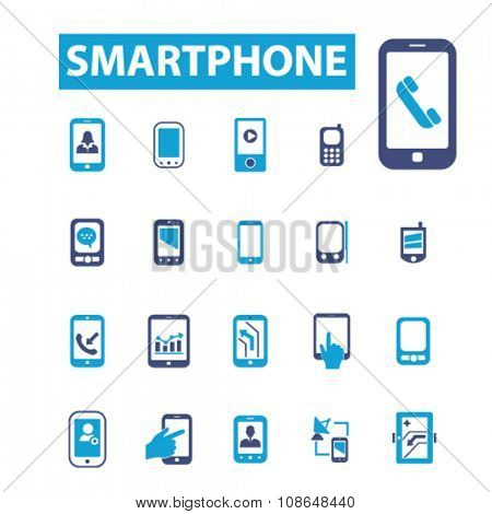 smartphone, cell, phone  icons, signs vector concept set for infographics, mobile, website, application