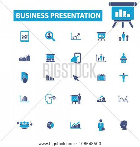business presentation, intelligence, analytics, marketing research, analysis icons, signs vector concept set for infographics, mobile, website, application