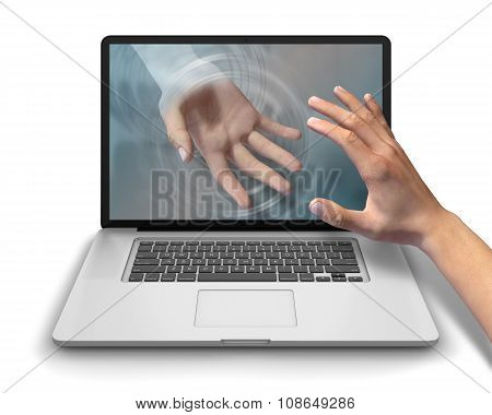 Reaching For Helping Hand Laptop Computer