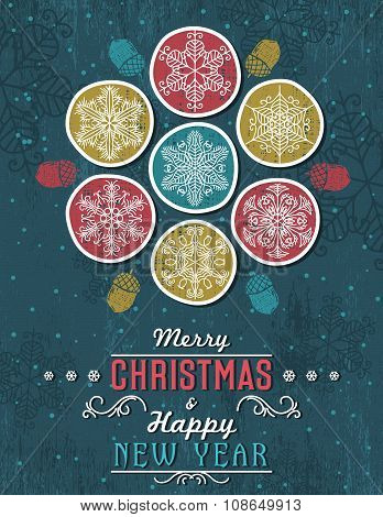 Green Grunge Christmas Card With Snowflakes And Greeting Text, Vector