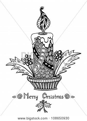 Christmas Candle in Zen-doodle style black on white