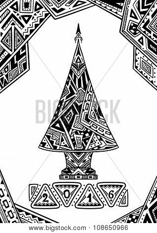 Christmas Tree in Zen-doodle style black on white