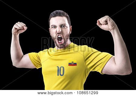 Ecuadorian soccer player player on black background