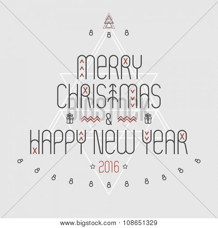 Christmas and new year greeting card.Typographic poster.