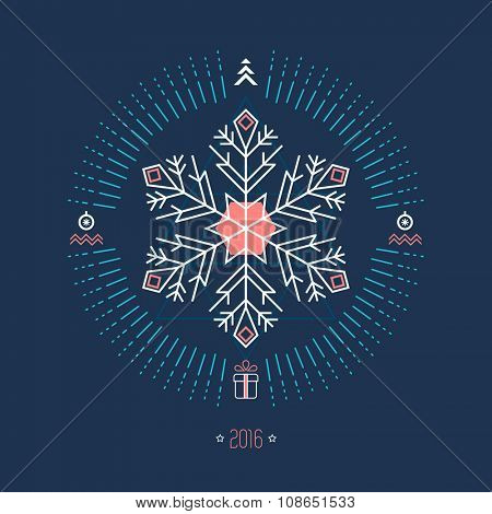 Christmas geometric background with white snowflake