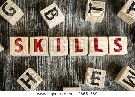 Wooden Blocks with the text: Skills