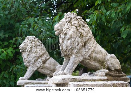 Sculpture Of Two Sitting Lions Against The Green Tree Foliage.