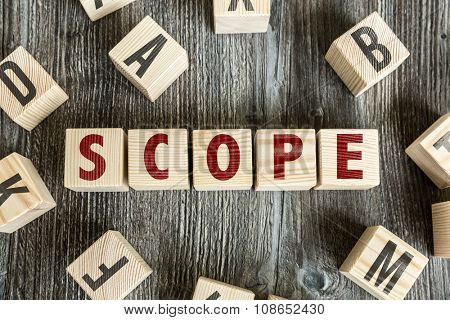 Wooden Blocks with the text: Scope